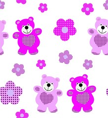 Vector seamless pattern toy teddy bear