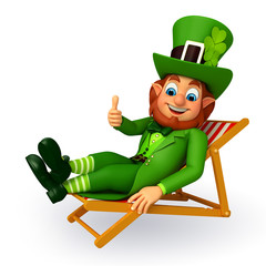 leprechaun for petrick's day sitting on the chair