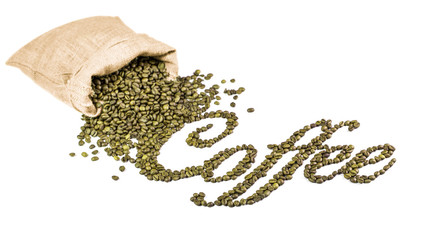 Coffee title made from green coffee beans. Beans in bag