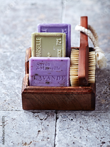 Organic Soaps and Bath Brush in a Wooden Box