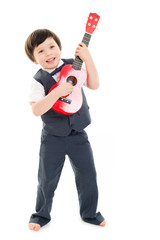 Boy playing ukulele
