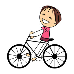 Cute little boy on bicycle