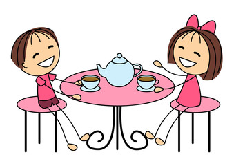 Cute little kids drinking tea