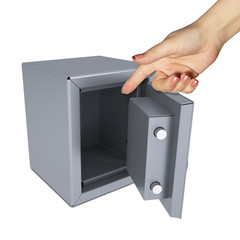 Hand pointing to the open safe
