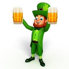 leprechaun for patrick's day with beer glass
