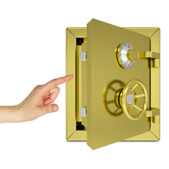 Hand pointing to the open gold safe