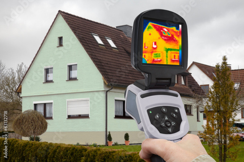 canvas print picture analysing a one-family house with an IR camera