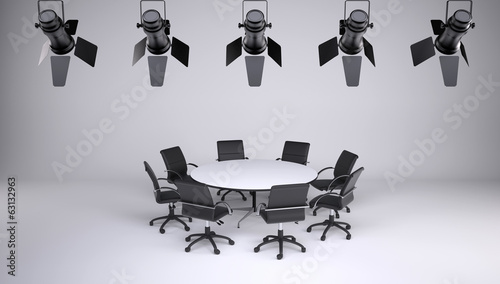 Round table and eight office chairs