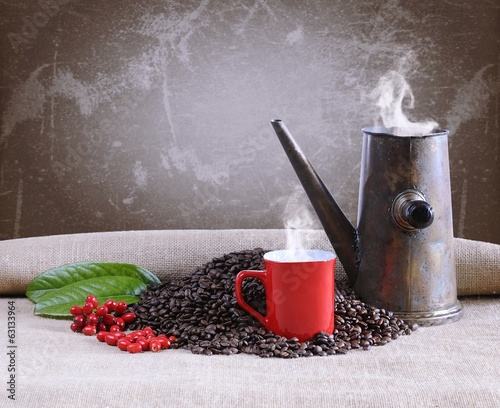 Coffee cup with old pot.