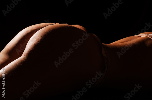 Parts of the body of young caucasian woman on black  background - 63134121