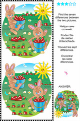 Find the differences visual puzzle - bunnies and carrots