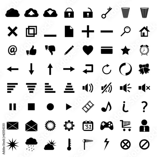 different icons black on white