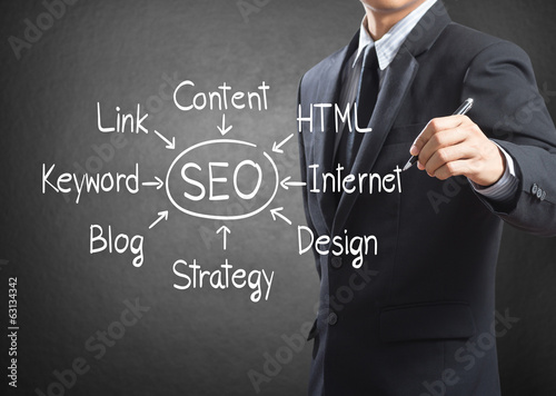 Businessman writing SEO process diagram, Internet concept
