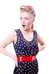 portrait of beautiful funny young blond pinup woman