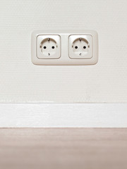 Electrical jack white plastic socket
