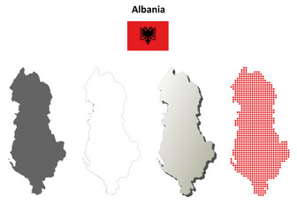 Blank detailed contour maps of Albania