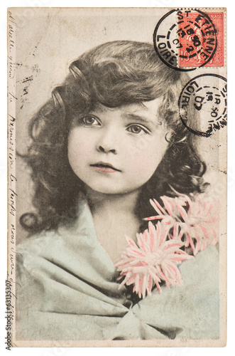 vintage portrait of beautiful little girl ca 1907