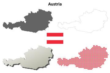 Blank detailed contour maps of Austria