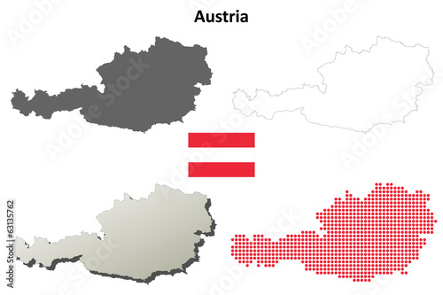 Blank detailed contour maps of Austria