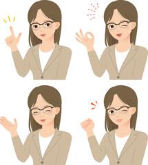 眼鏡をかけたスーツの女性