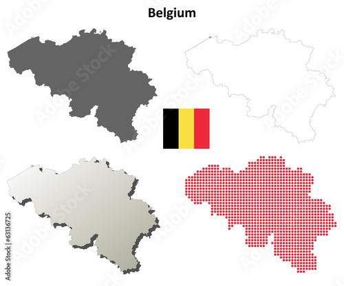 Fototapeta Blank detailed contour maps of Belgium