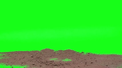 Esplosione terra in green screen