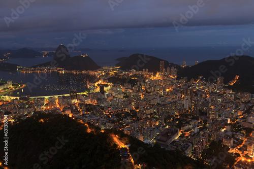 Canvastavla Night view of Sugarloaf Rio de Janeiro