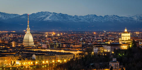 Turin (Torino), night panorama with Mole Antonelliana and Alps