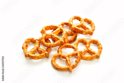 Salty Pretzels Over a White Background