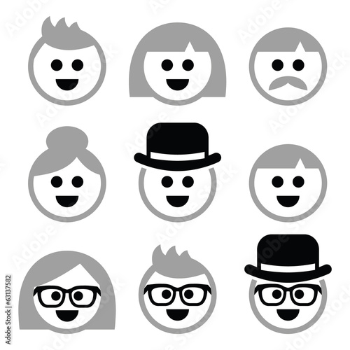 People with grey hair, seniors, old people icons set