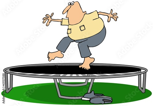 Man jumping on a trampoline