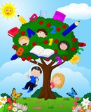 Fototapety Cartoon children playing Illustration in an apple tree