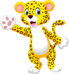 Cute cartoon leopard waving hand