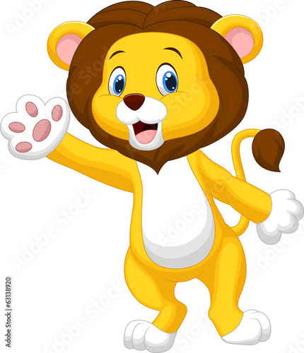 Cute lion waving hand