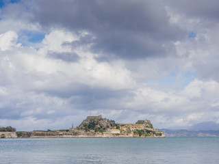 Hellenic temple and old castle at Corfu