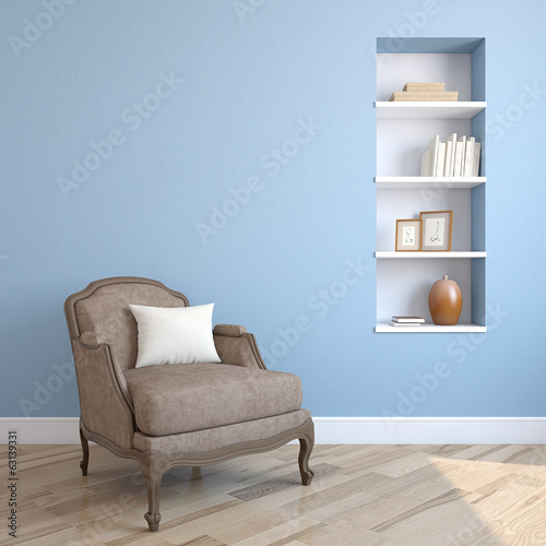canvas print picture Interior with armchair.