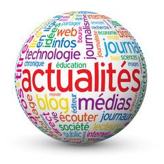 """Globe - Nuage de Tags """"ACTUALITES"""" (informations bouton médias)"""