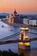 Budapest sunset cityscape