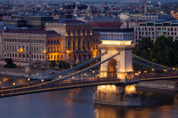 Budapest sunset cityscape with Chain Bridge