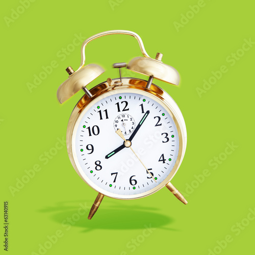 alarm clock green background