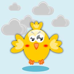 Uccello arrabbiato e nuvole