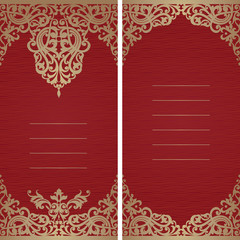 Vintage greeting card with swirls and floral motifs.