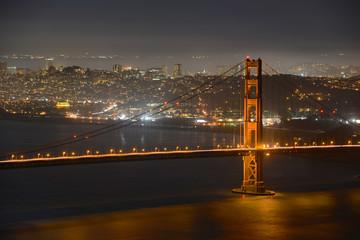 Golden Gate Bridge and San Francisco at night, California, USA