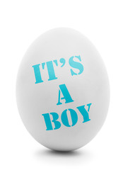 It's a boy text on white egg isolated