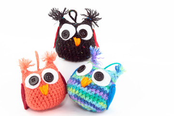 Three Adorable Handmade Owls