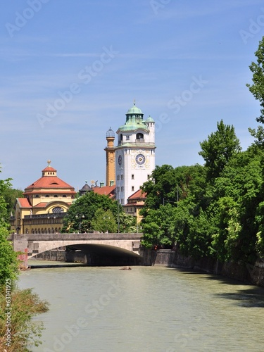 center of Munich & the Isar river