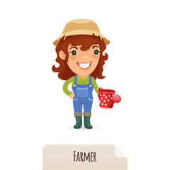 Female Farmer With a Watering Can
