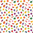Vector seamless colorful fruit and vegetable pattern