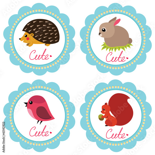 Cute baby retro-styled cards with animals