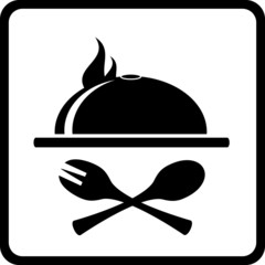 icon with dish and kitchen utensil